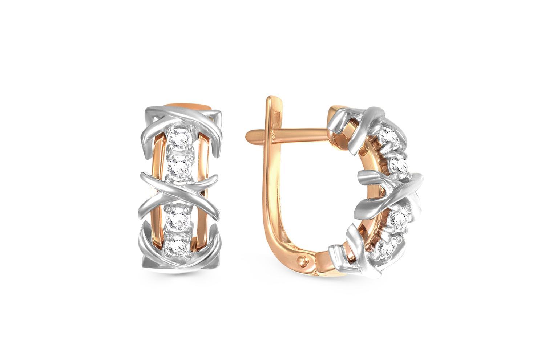 Серьги с 8 бриллиантами из комбинированного золота0