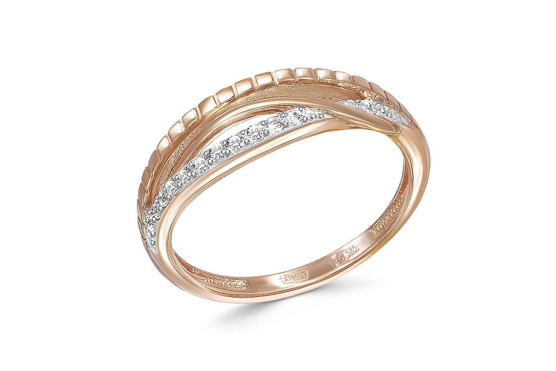 Кольцо с 12 бриллиантами из красного золота