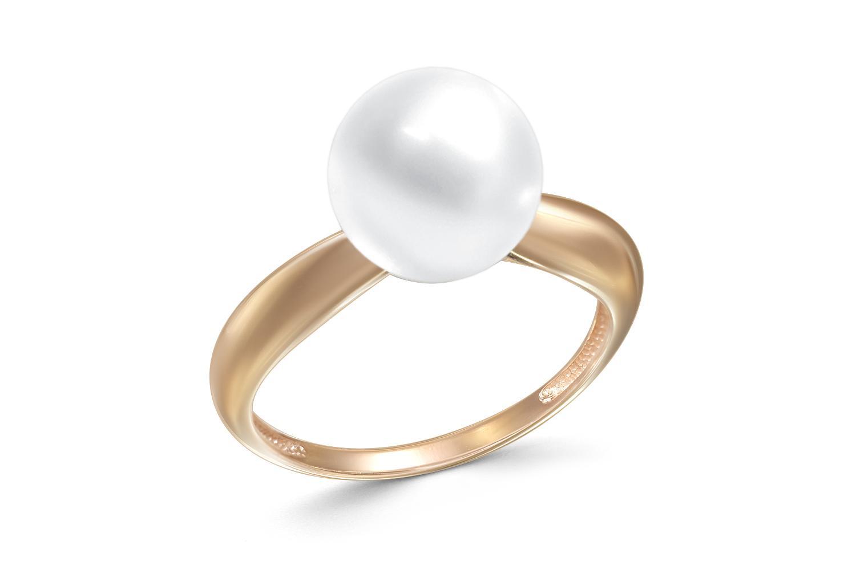 Кольцо с жемчугом из красного золота