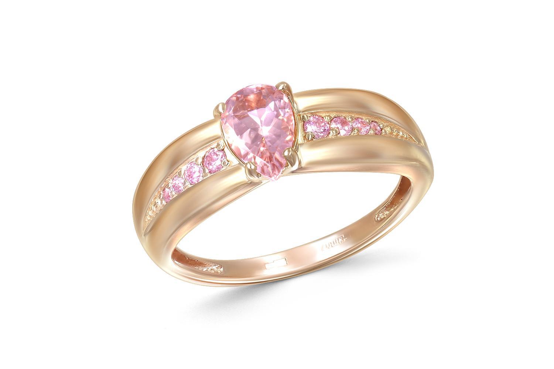 Кольцо с морганитом и 8 фианитами из красного золота