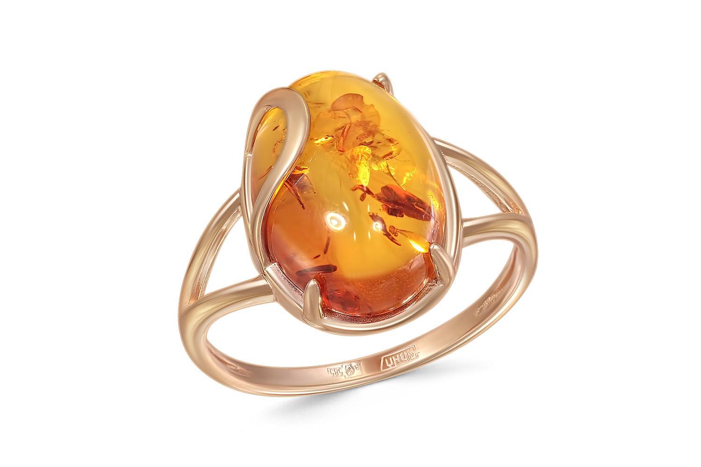 Кольцо с янтарём из красного золота