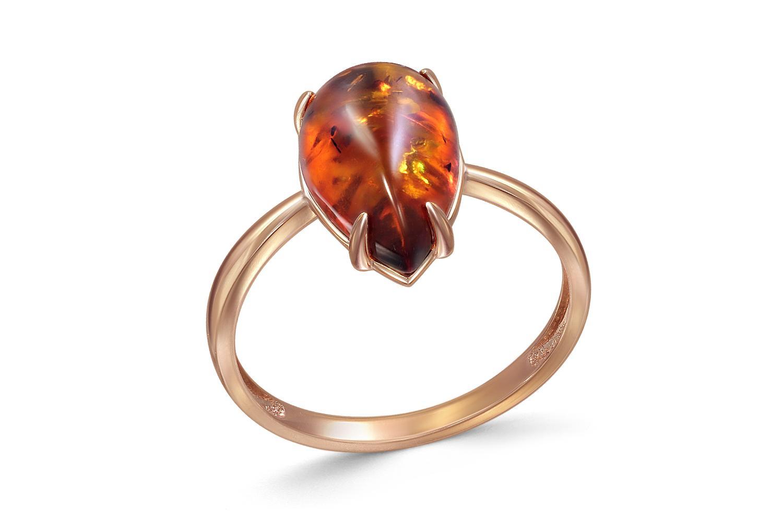 Кольцо с янтарём из красного золота0