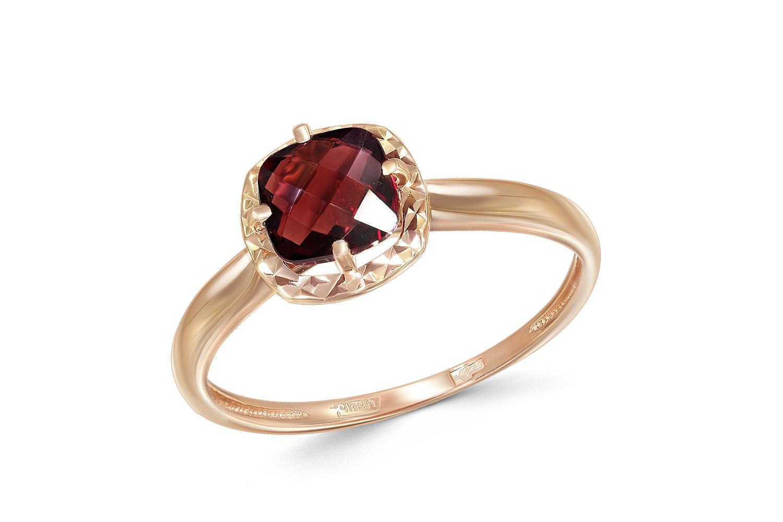 Кольцо с гранатом из красного золота