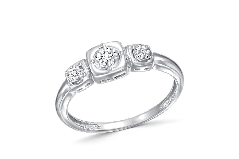 Кольцо с 19 бриллиантами из белого золота