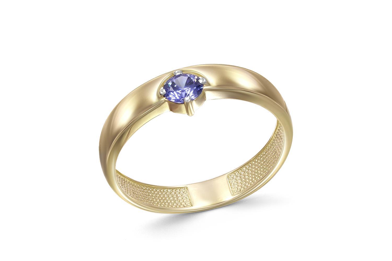 Кольцо с фианитом из жёлтого золота0