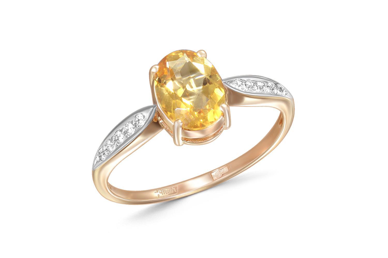 Кольцо с цитрином и 10 фианитами из красного золота