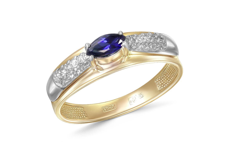 Кольцо с сапфиром и 26 бриллиантами из комбинированного золота