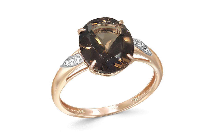 Кольцо с раух топазом и 6 фианитами из красного золота