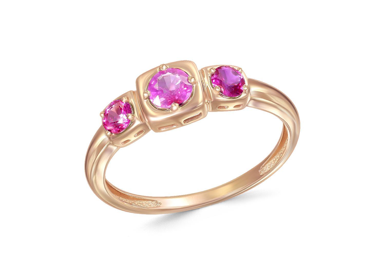 Кольцо с 3 рубинами из красного золота